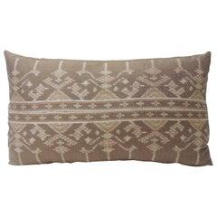 Vintage Woven Pink Silk Ikat Decorative Lumbar Pillow