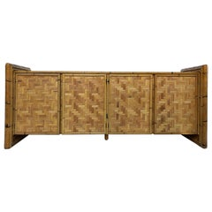 Vintage Woven Rattan and Bamboo Credenza
