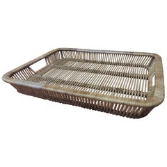 Vintage Woven Rattan and Bamboo Tray with Handles