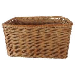 Vintage Woven Rattan Magazine or Storage Basket