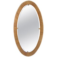 Vintage Woven Rattan Oval Mirror