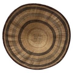 Vintage Woven Round African Flat Basket