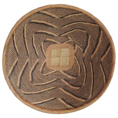 Vintage Woven Seagrass Ethnic Round African Basket