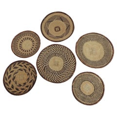 Vintage Woven Seagrass Ethnic Round African Flat Baskets