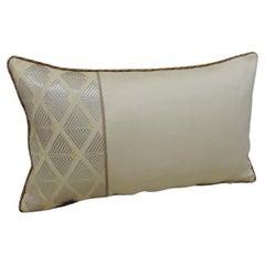 Vintage Woven Silk Gold and Silver Obi Lumbar Decorative Pillow