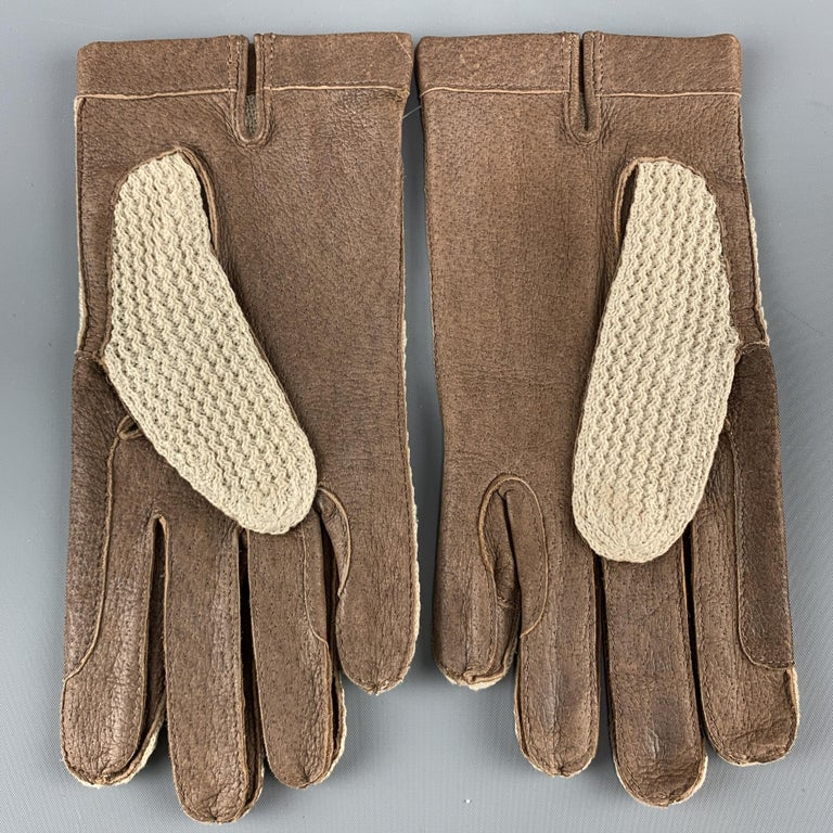 VINTAGE Woven Size 8.5 Taupe Leather Gloves In Excellent Condition For Sale In San Francisco, CA