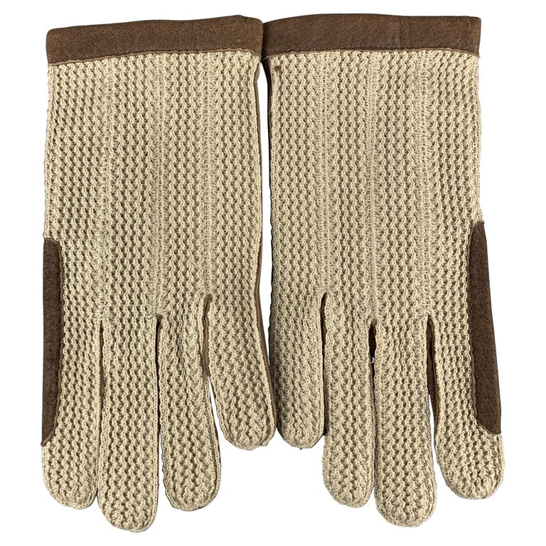 VINTAGE Woven Size 8.5 Taupe Leather Gloves For Sale