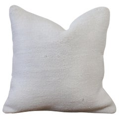 Vintage Woven Turkish Hemp Pillow in White