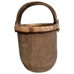 Vintage Woven Wicker Basket with Handle