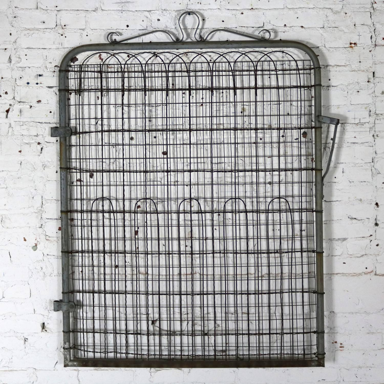 Quaint Vintage Woven Wire Cottage Style Garden Gate Of Galvanized Metal And  Wire With Lots Of