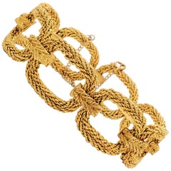 Vintage Woven Yellow Gold Oval Link Bracelet