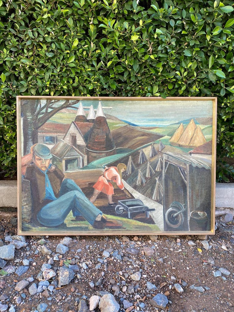 Incredibly charming WPA style oil painting on board. New frame. Unknown artist and origin. The board shows some warping but is stabile and in great condition otherwise.