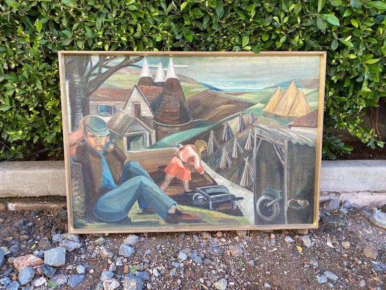 English Vintage WPA Style Oil Painting For Sale