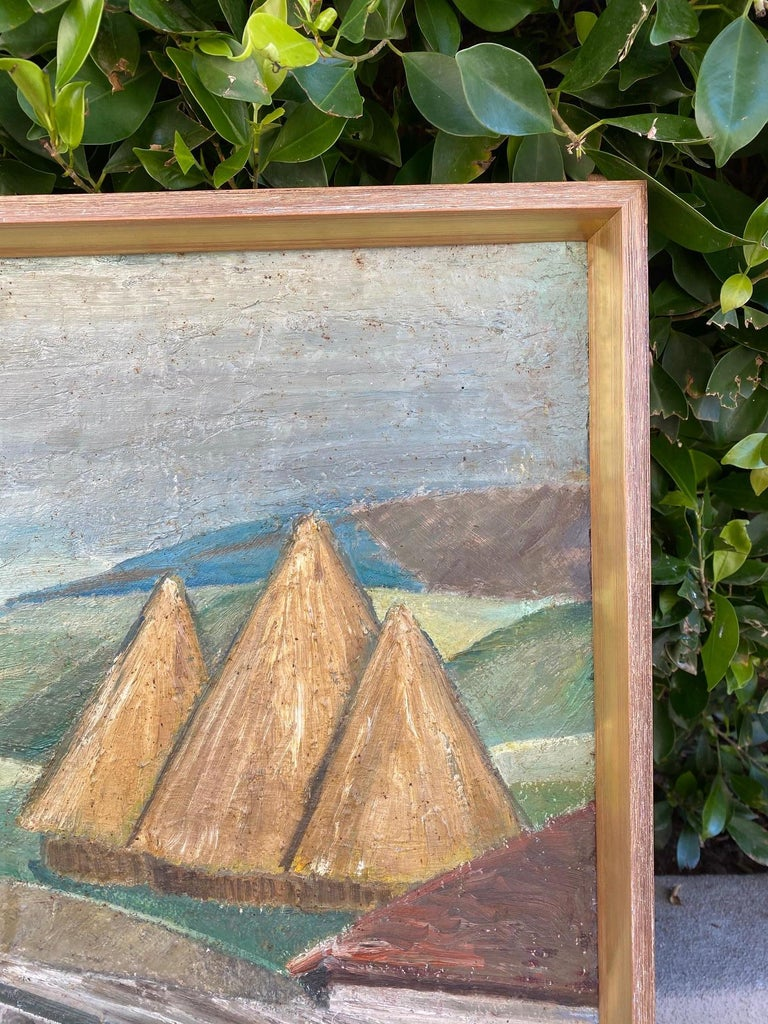 Vintage WPA Style Oil Painting In Fair Condition For Sale In Scottsdale, AZ