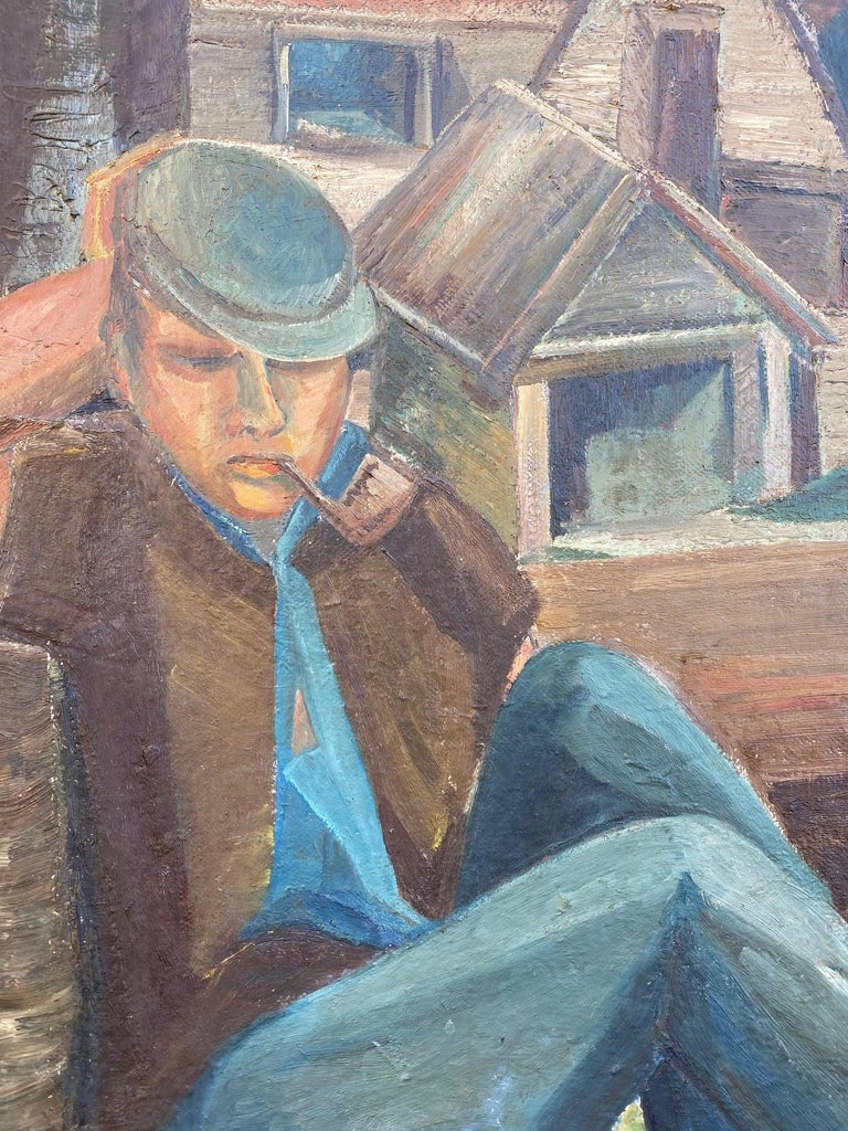 20th Century Vintage WPA Style Oil Painting For Sale