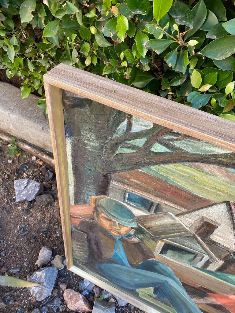 Vintage WPA Style Oil Painting For Sale 3