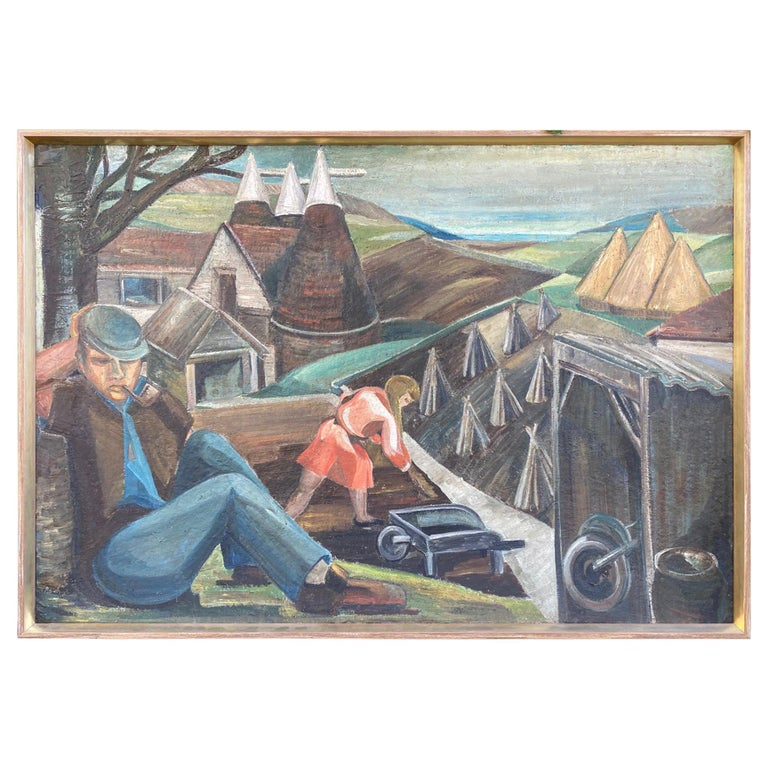 Vintage WPA Style Oil Painting For Sale