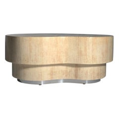 Vintage Linen Wrapped Kidney Freeform Biomorphic Coffee Table