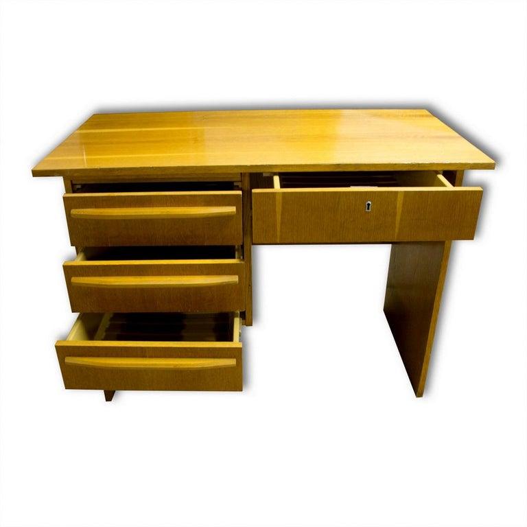 Vintage scandinavian style writing desk. Beechwood. Plastic drawers.  Very simple design. In very godd vintage condition.