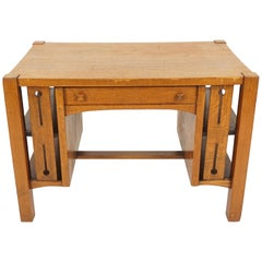 Vintage Writing Desk Oak Arts+Crafts Mission Library Table, American 1920 B2076