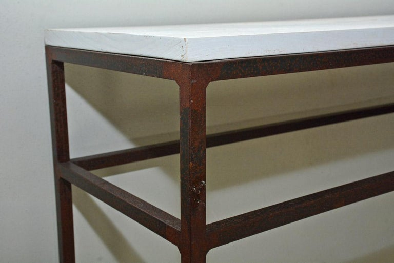 Modern Vintage Wrought Iron and Wood Console Table For Sale