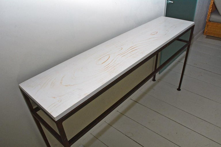 American Vintage Wrought Iron and Wood Console Table For Sale
