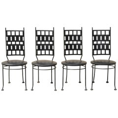 Vintage Wrought Iron Atomic Era Mid-Century Modern Dining Chairs, Set of 4