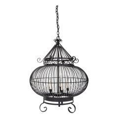 Vintage Wrought Iron Birdcage Hanging Light