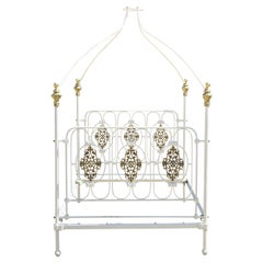 Vintage Wrought Iron Brass French Victorian Full Size Poster Bed Frame w/ Canopy