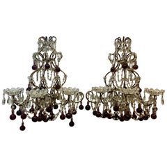 Vintage Wrought Iron, Crystal & Glass Wall Sconces, c.1930