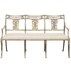 Vintage Wrought-Iron Diana the Huntress Pattern Garden Bench with Upholstery