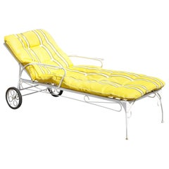 Vintage Wrought Iron Garden Patio Adjustable Chaise Lounge Chair Yellow Cushion