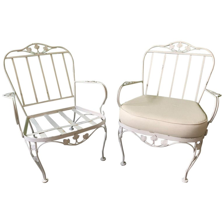 Vintage Woodard Wrought Iron Patio Chair Pair
