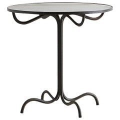 Vintage Wrought Iron Pedestal Table with Antiqued Mirror Top