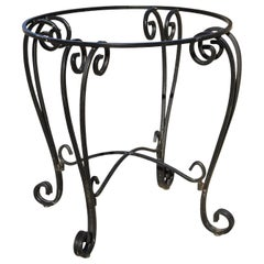 Vintage Wrought Iron Round Scrollwork Pedestal Base Dining Room Table