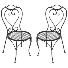 Vintage Wrought Iron Shabby Chic Garden Chairs, Pair