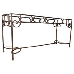 Vintage Wrought Iron with Gold Gilt Finish Console Table or Server Base Table