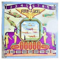 "Vintage WW2 Era Genco ""Four Aces"" Military Pilot Pinball Machine Back Glass"