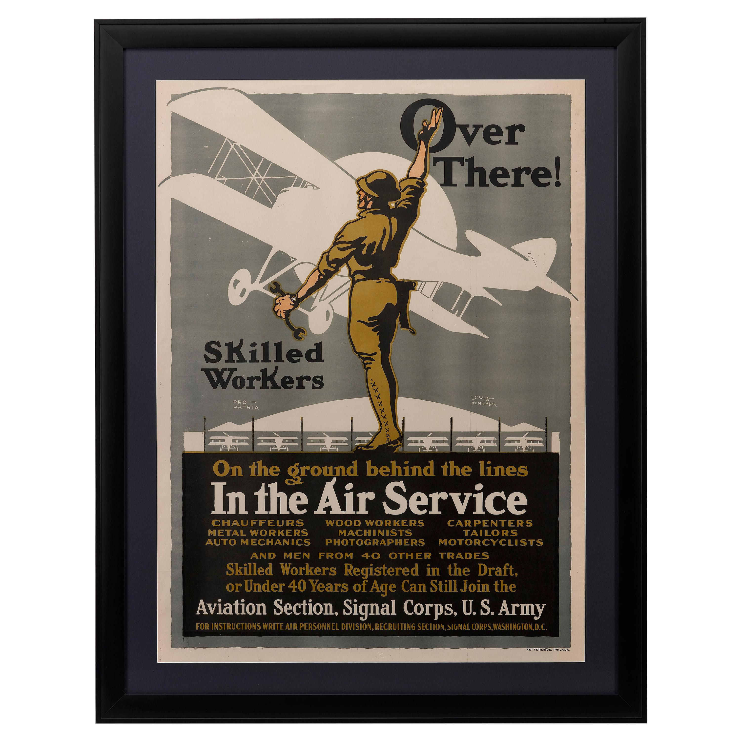 """Army Air Service """"Over There!"""" WW I Recruitment Poster by Louis Fancher, 1918"""