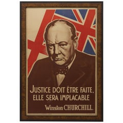 Vintage WWII French Propaganda Poster with Winston Churchill, circa 1942
