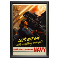 Vintage WWII Navy Recruitment Poster by McClelland Barclay, circa 1942