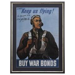Vintage WWII War Bonds Poster Signed by Tuskegee Airman Lt. Col. Julius Jackson