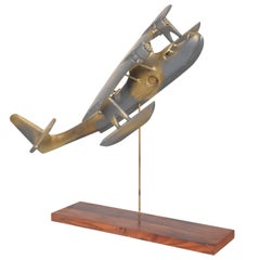 Vintage WWII Wood Airplane Sculpture Faux Patina in Brass Midcentury Art, 1950s