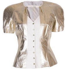 Vintage Wynard White and Gold Leather Jacket