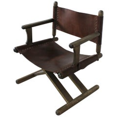 Vintage X-Base Oak and Saddle Leather Folding Armchair Hungary, 1970
