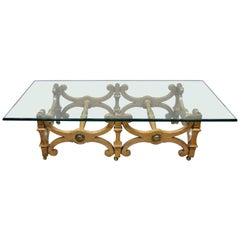 Vintage X-Frame Hollywood Regency Large Rectangle Glass Top Coffee Table