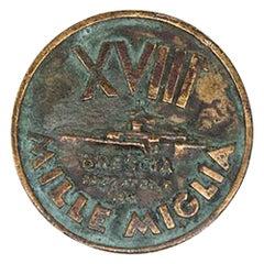 Vintage XVIII Mille Miglia Bronze Badge Medal Coin