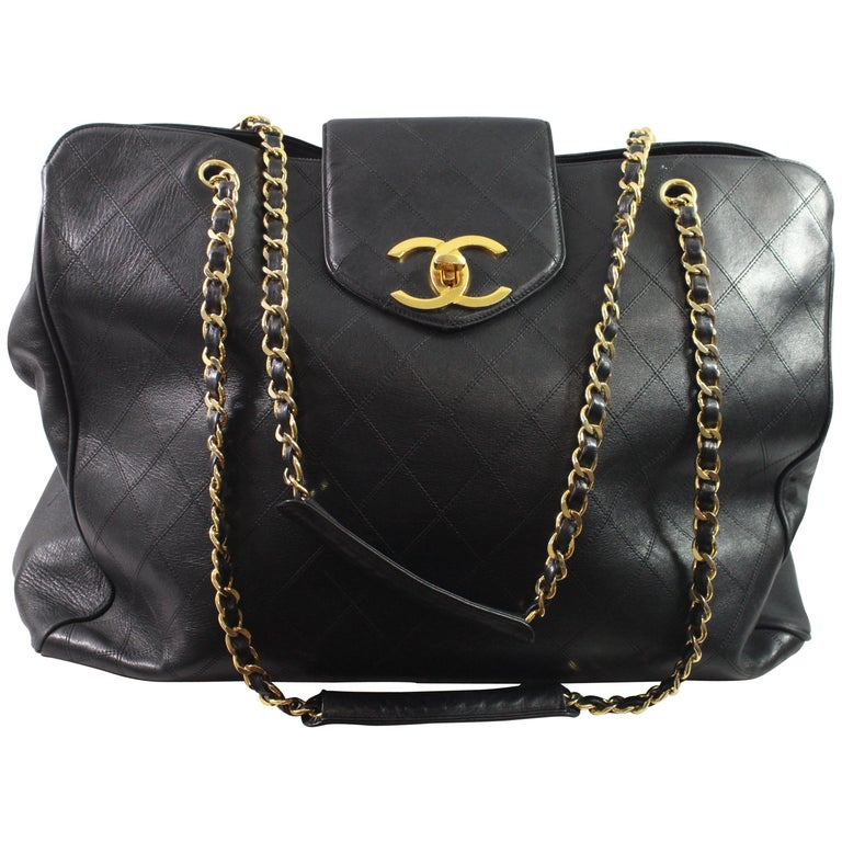b7d663f0c2238 Vintage XXL Chanel Shopper Bag with mademoiselle Timeless Clasp For Sale