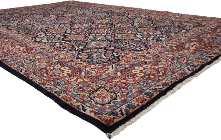 Vintage Yazd Persian Garden Compartment Area Rug With Luxe Victorian