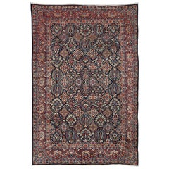 Vintage Yazd Persian Garden Compartment Area Rug with Luxe Victorian Style
